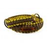 Stahovací obojek paracord KLASIK BROWN žlutý  šířka 3 nebo 4 cm   staromosazné kroužky