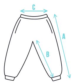 Rozměry dětských softshellových kalhot