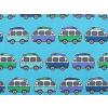 Dětské modré tričko s autobusy deatil látky