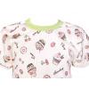 Dětské letní pyžamo s muffiny - detail krku