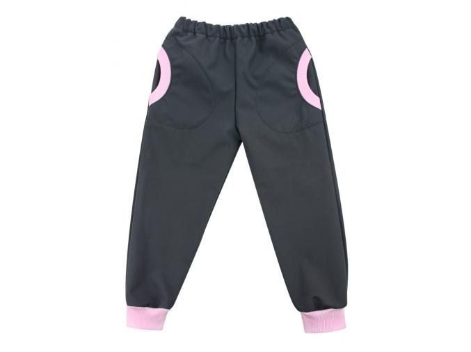 Dětské softshellové kalhoty antracitově šedé růžové