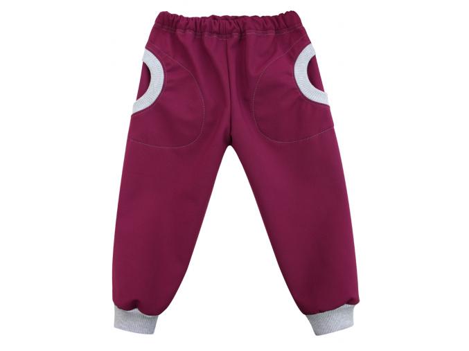 Dětské softshellové kalhoty s kapsami vínové