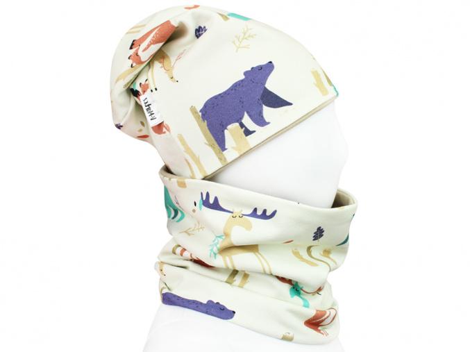 Dětský set čepice a nákrčníku lesní zvířátka