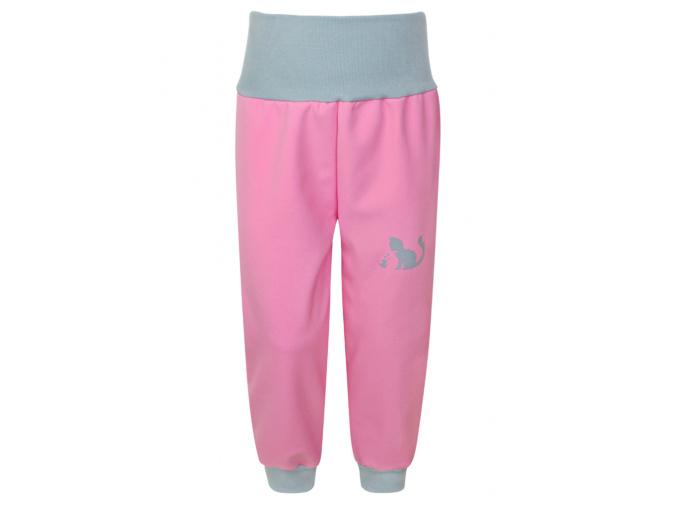 Dětské růžové softshellové kalhoty s vysokým pasem