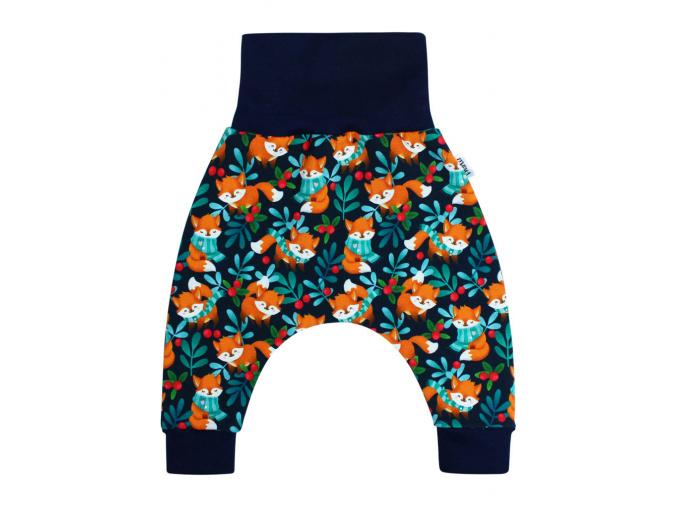Dětské turecké kalhoty lišky na tmavě modré