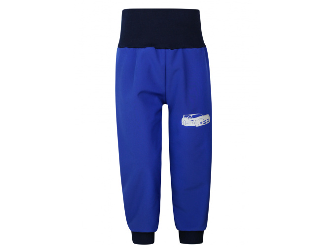 Dětské modré softshellové kalhoty s vysokým pasem