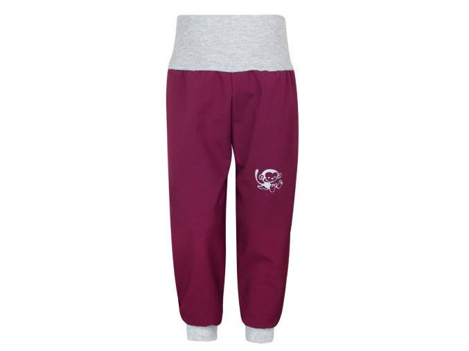 Vínové dětské softshellové kalhoty s vysokým pasem
