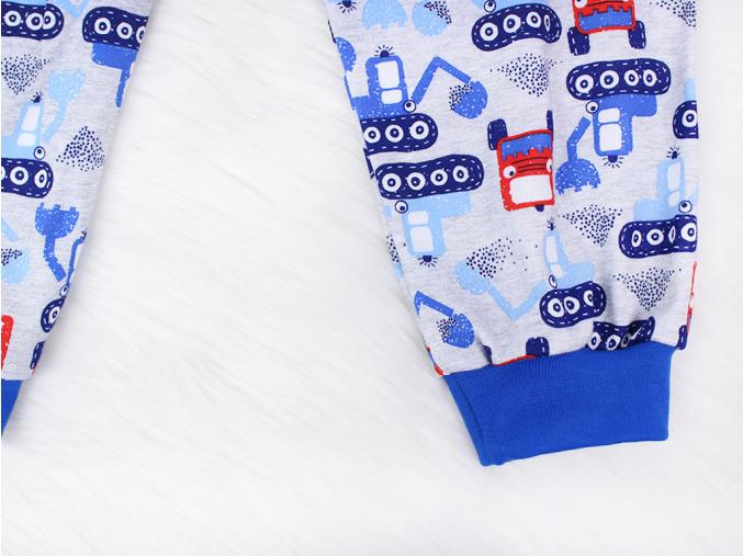 Dětské pyžamo bagry na stavbě šedé