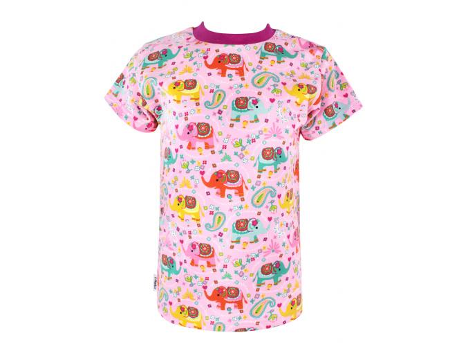 Dětské růžové triko se slony
