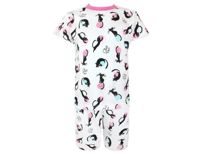 Dětské pyžamo s krátkým rukávem kočičky a klubíčka