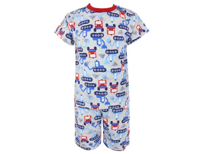 Dětské pyžamo s krátkým rukávem bagry na stavbě