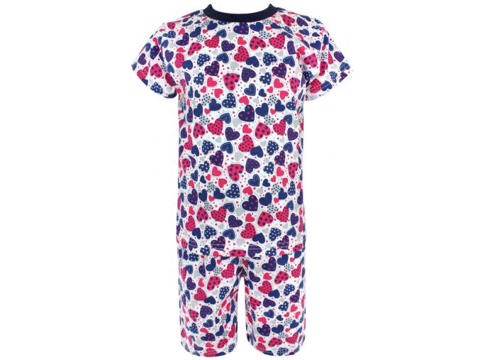 Dětské pyžamo s krátkým rukávem Modrorůžová srdíčka