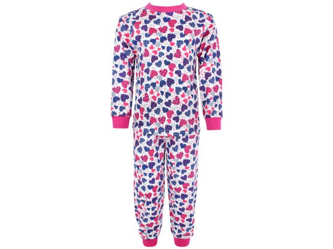 Dětské pyžamo modrorůžová srdíčka
