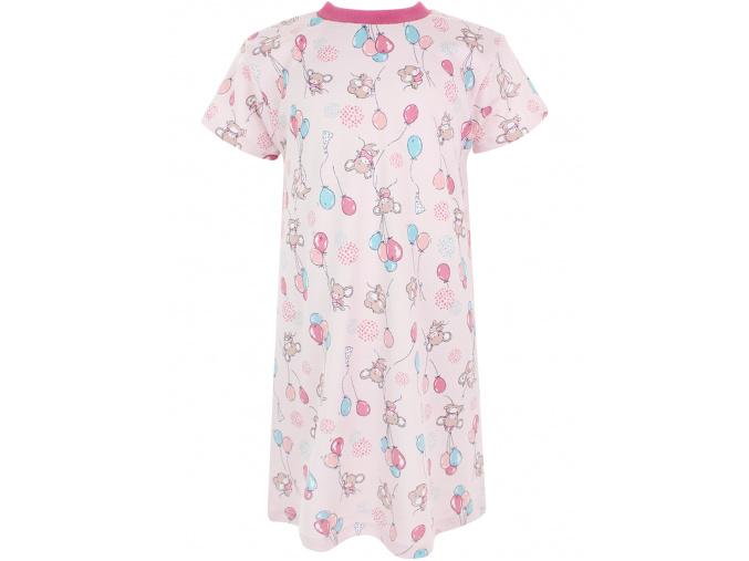 Dětská růžová noční košile myšky a balonky