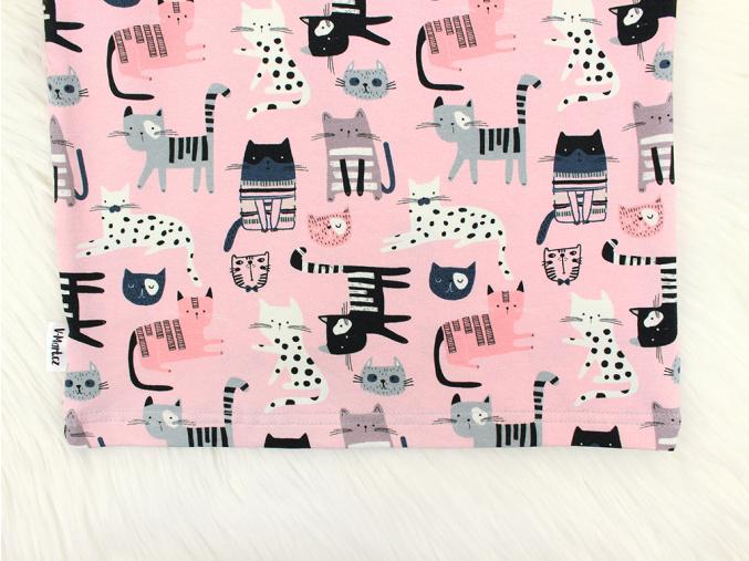 Dětské triko kočičky na růžové