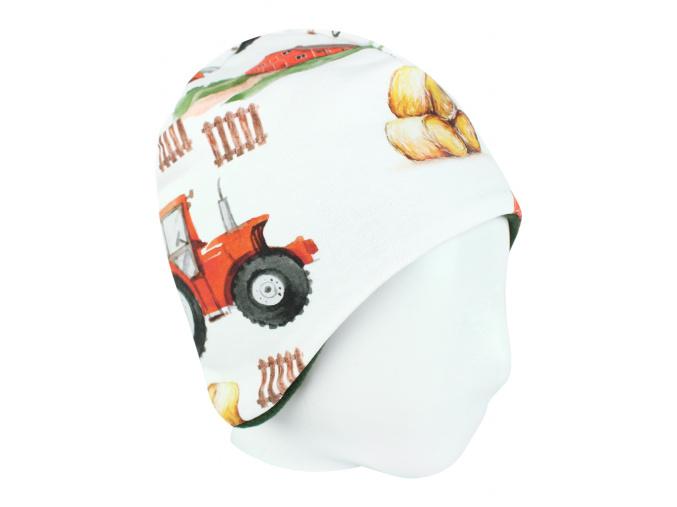 Dětská zateplená čepice traktory kopie