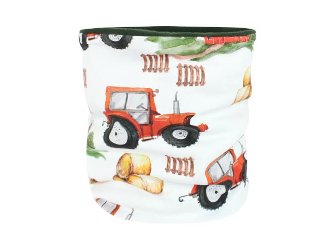 Dětský zateplený nákrčník traktory kopie