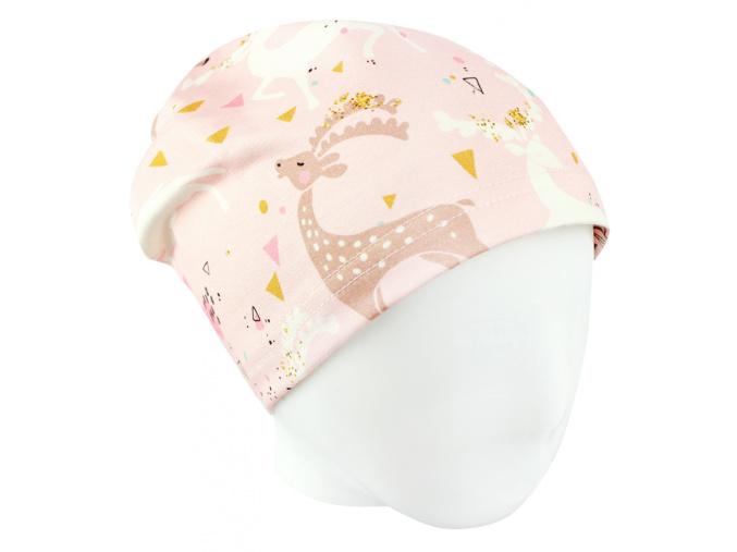 Dětská jarní podzimní čepice srnky2