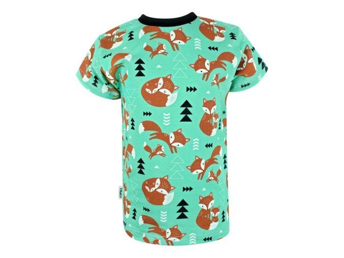 Dětské triko s krátkým rukávem lišky na zelené kopie