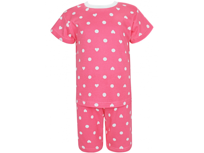 Dětské růžové pyžamo s krátkým rukávem srdíčka a puntíky kopie