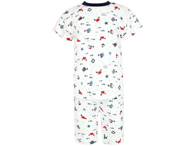 Dětské pyžamo s krátkým rukávem rybičky na bílé