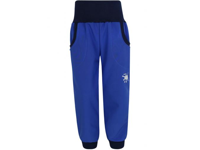 Dětské královsky modré softshellové kalhoty s fleecem