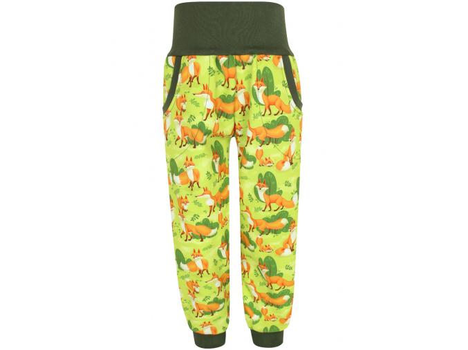 Dětské zimní softshellové kalhoty s ysokým pasem Lišky na hráškové