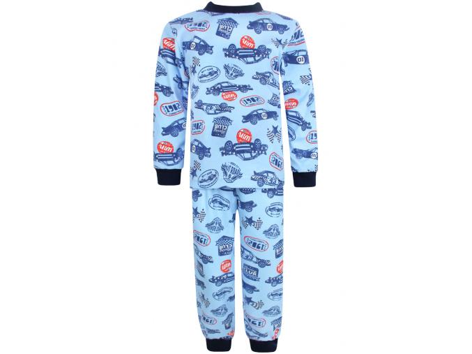 Dětské chlapecké pyžamo s dlouhým rukávem závodní auta na modré