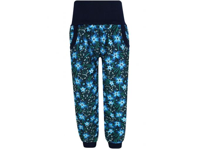 Dětské zateplené softshellové kalhoty kytičky tmavé