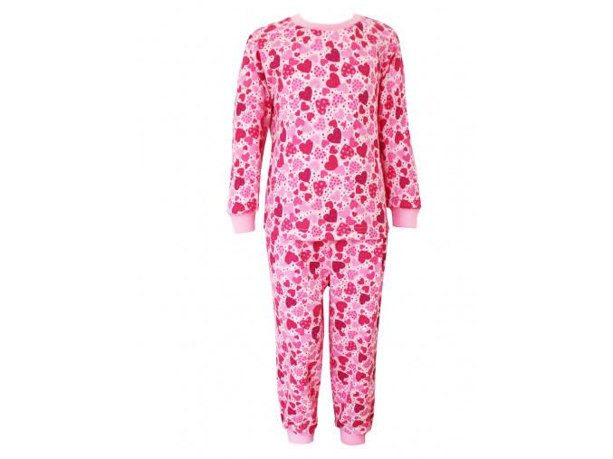 Dětské pyžamo s růžovými srdíčky