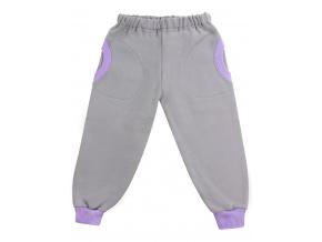 Dětské tepláky s fialovými kapsami