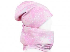 Dětský set čepice a nákrčníku tečky na růžové