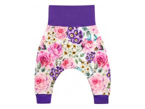 Dětské baggy kalhoty kytičky