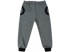Dětské šedé softshellové kalhoty s růžovými kapsami