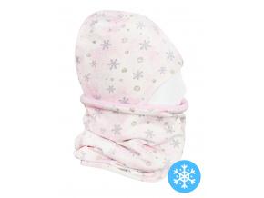 Dětská zimní čepice a nákrčník vločky na růžové