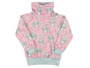 Dětská růžová mikina s králíčky