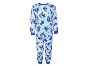 Dětské pyžamo pro kluky motorky na modré
