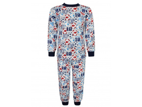 Dětské pyžamo kopačky a míče šedé