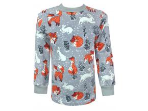 Dětské tričko s dlouhým rukávem lišky a králíčci