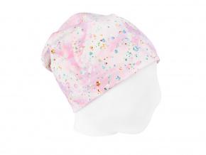 Dětská jarní čepice třpytky na růžové