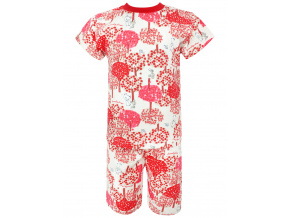 Dětské pyžamo s krátkým rukávem červený les
