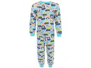Dětské pyžamo bagry na stavbě zelené kopie