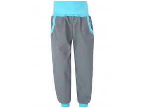 Dětské šedé softshellové kalhoty s tyrkysovým vysokým pasem