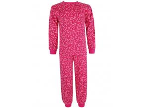 Dětské růžové pyžamo se srdíčky