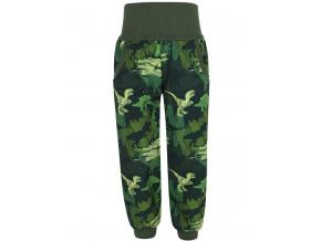 Dětské softshellové kalhoty dinosauři zelené