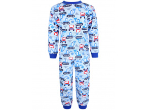 Dětské pyžamo bagry na stavbě modré