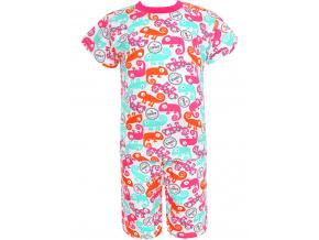 Dětské pyžamo s krátkým rukávem chameleoni modro růžové