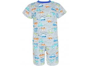 Dětské pyžamo s krátkým rukávem auta a vrtulníky šedé