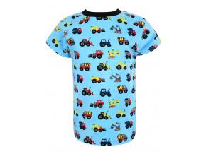 Dětské tričko s krátkým rukávem Stavební stroje na modré