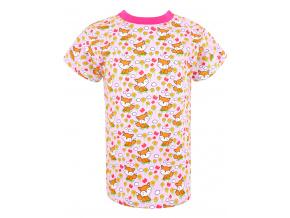 Dětské růžové triko Lišky a kytičky